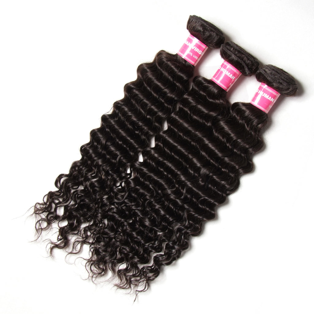 YIROO 7A Malaysian Deep Wave Hair 3 Bundles With 4*4 Lace Closure Free Part Natural Color