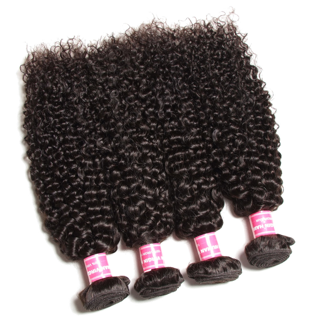 Yiroo Malaysian Curly Hair 4 Bundles ,7A Grade 100% Unprocessed Virgin Human Hair