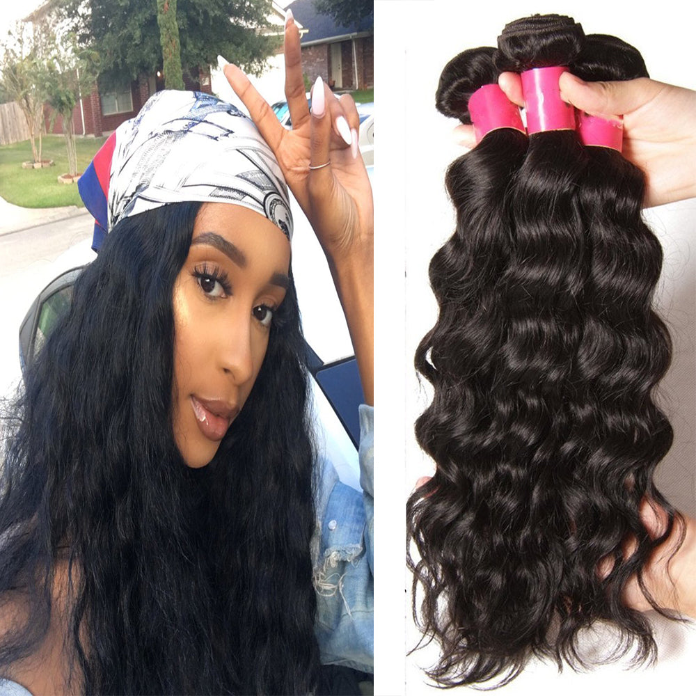 YIROO Brazilian Natural Wave 3 Bundles ,Virgin Hair Weave 7A 100% Unprocessed Human Hair