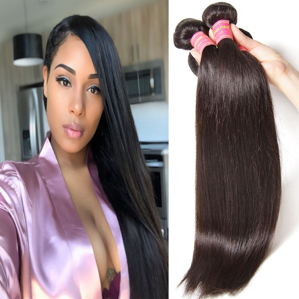 YIROO Brazilian Straight Hair Weave 4 Bundles 7a Grade 100% Virgin Straight Human Hair Extensions