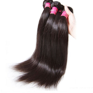 YIROO 7a Grade Malaysian Straight Hair 4 Bundles, 100% Virgin Human Hair Weave