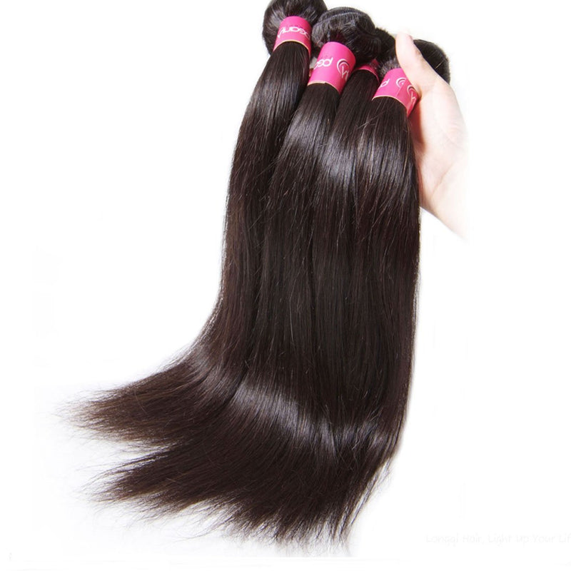 YIROO Malaysian Straight Hair 7A Grade 4 Bundles with 1 Piece Free Part Closure, 100% Human Hair Weave