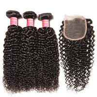 YIROO 7a Peruvian Virgin  Curly Human Hair Weaves 3 Bundle With Lace Closure Deals