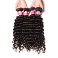 YIROO 7A Brazilian Deep Wave Hair 1pc Frontal with 3 Bundles Virgin Human Hair