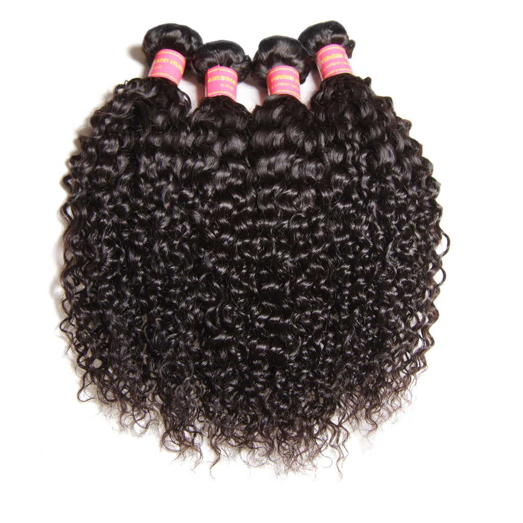 YIROO 7a Brazilian Virgin Curly Hair 4 Bundles ,100% Unprocessed Human Hair Curly Weave Deals