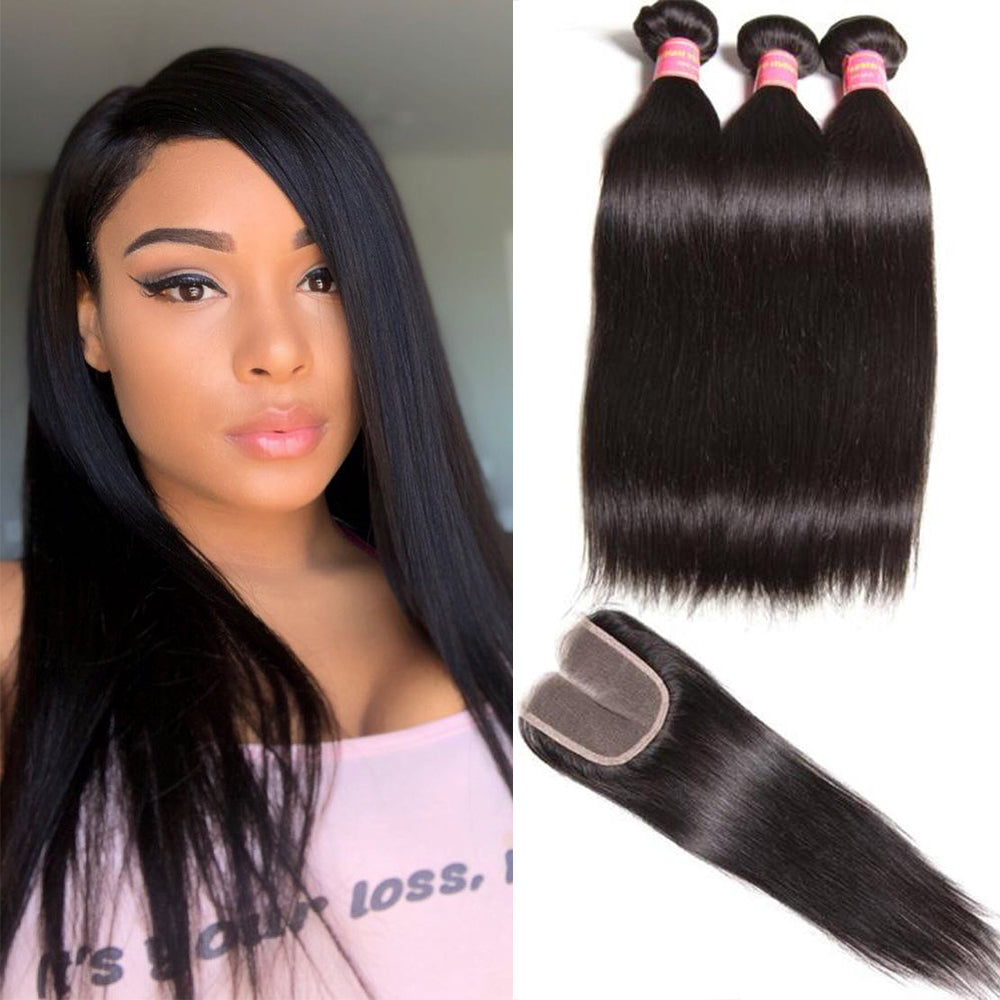 YIROO Peruvian Straight Hair 3 Bundles with 4*4 Lace Closure,7a Grade 100% Virgin Human Hair
