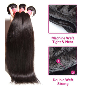 YIROO Brazilian Straight Hair Weave 3 Bundles With 13*4 Ear to Ear Lace Frontal Closure 7a Gade Hair Weave