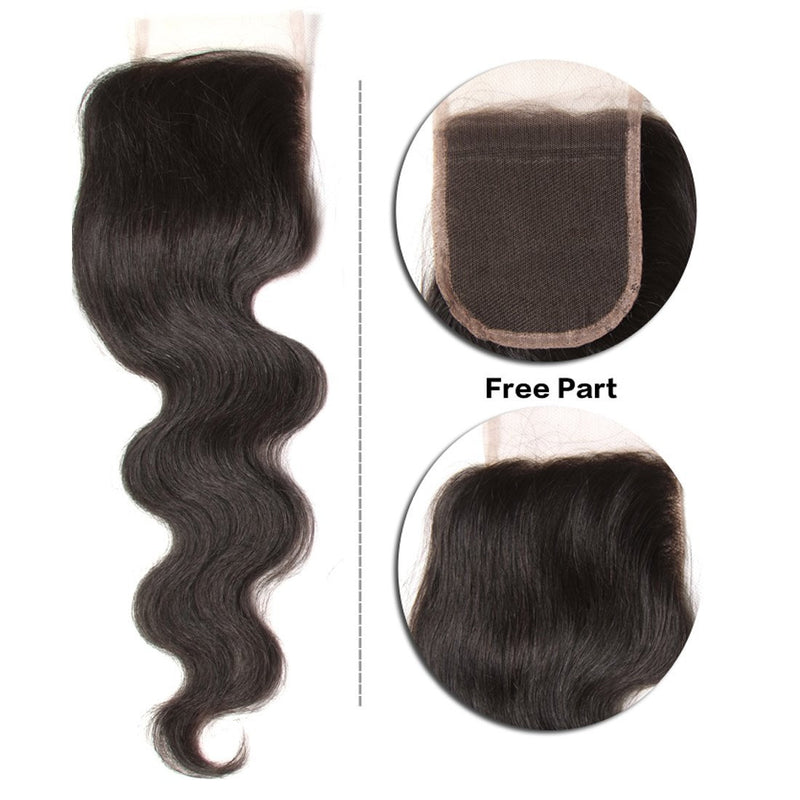 YIROO 7a Grade Body Wave 1PCS 4*4 Lace Closure Malaysian/ Brazilian Virgin Human Hair