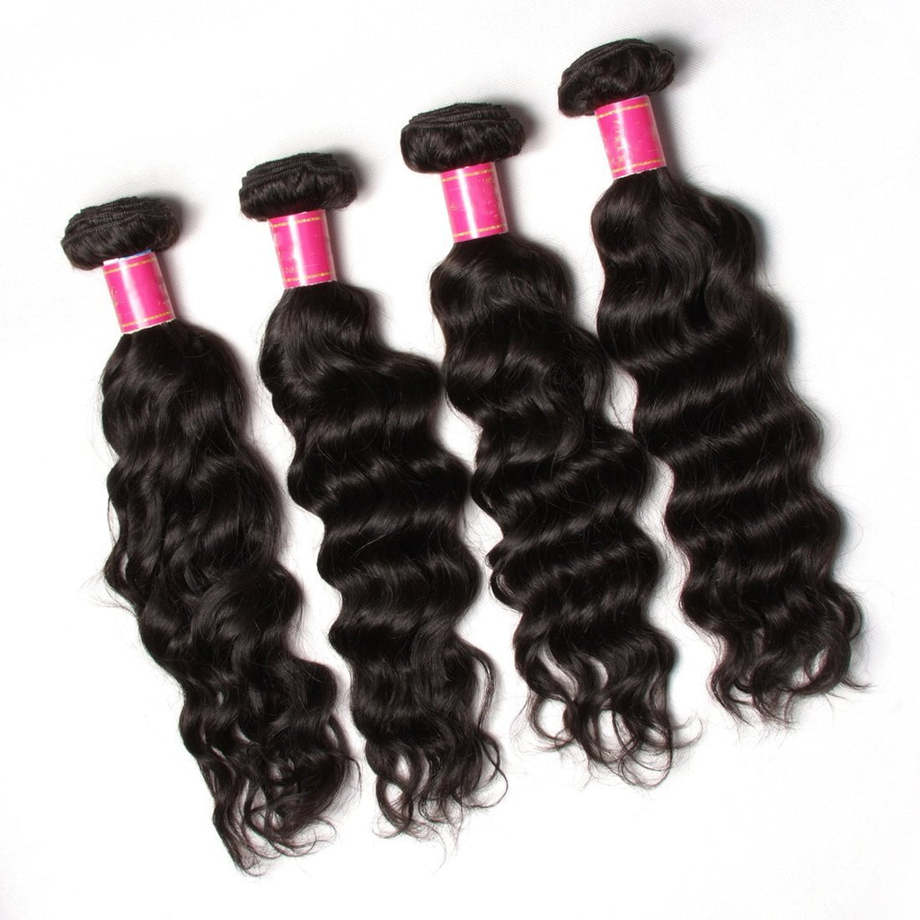 YIROO 7A Peruvian Natural Wave 1pcs Lace Frontal with 3 Bundles Virgin Human Hair