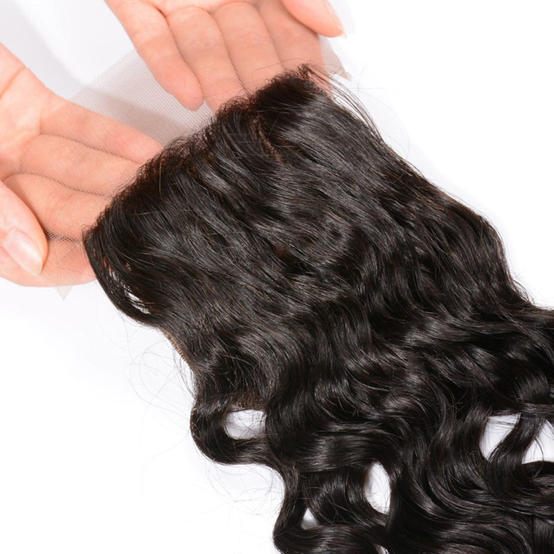 YIROO Peruvian Natural Wave 3 Bundles with 1pc 4x4 Lace Closure Free Part,100% Human Virgin Hair