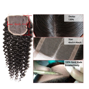 YIROO 7a Brazilian Virgin  Curly Human Hair Weaves 3 Bundle With 1pc Lace Closure Deals