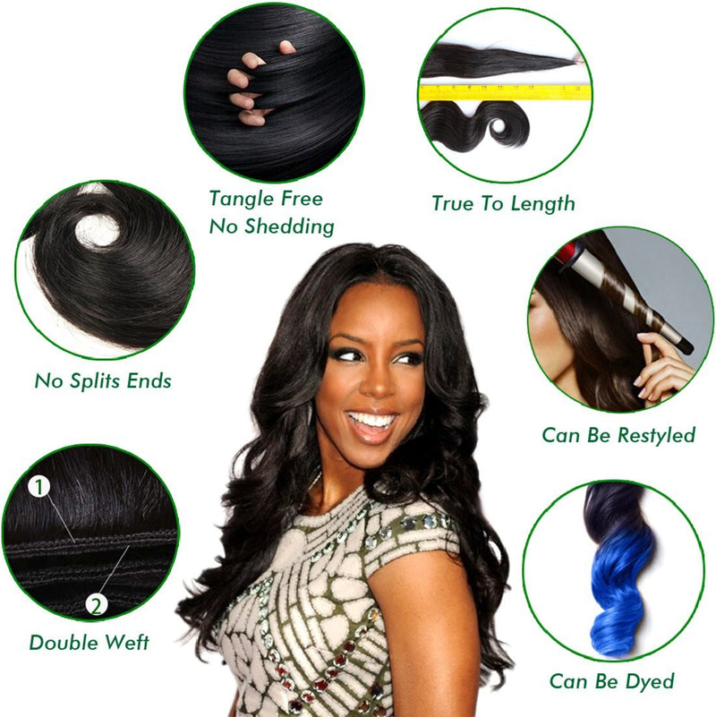 YIROO 7A Grade Malaysian Body Wave Virgin Hair Weave, 100% Human Hair 3 Bundles