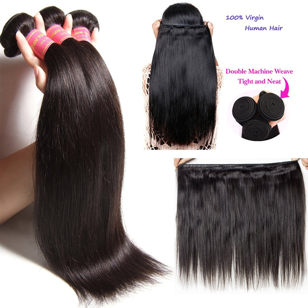 YIROO Malaysian Straight Hair 3 Bundles with 4*4 Lace Closure,7a Grade 100% Virgin Human Hair