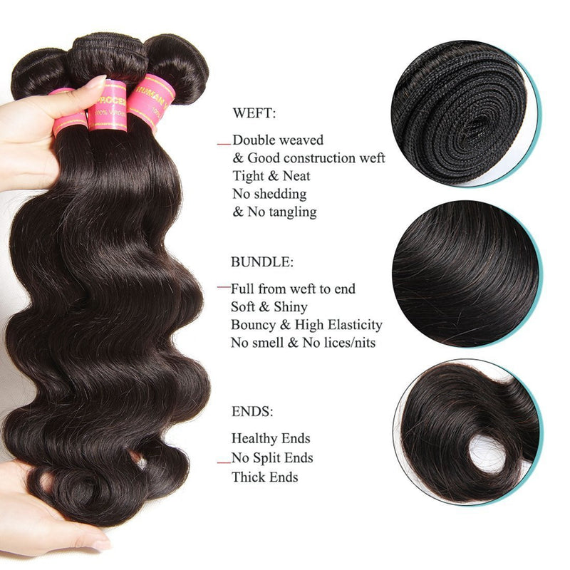 YIROO 7A Brazilian Body Wave 3 Bundles with 1pc 4x4 Lace Closure 100% Virgin Human Hair