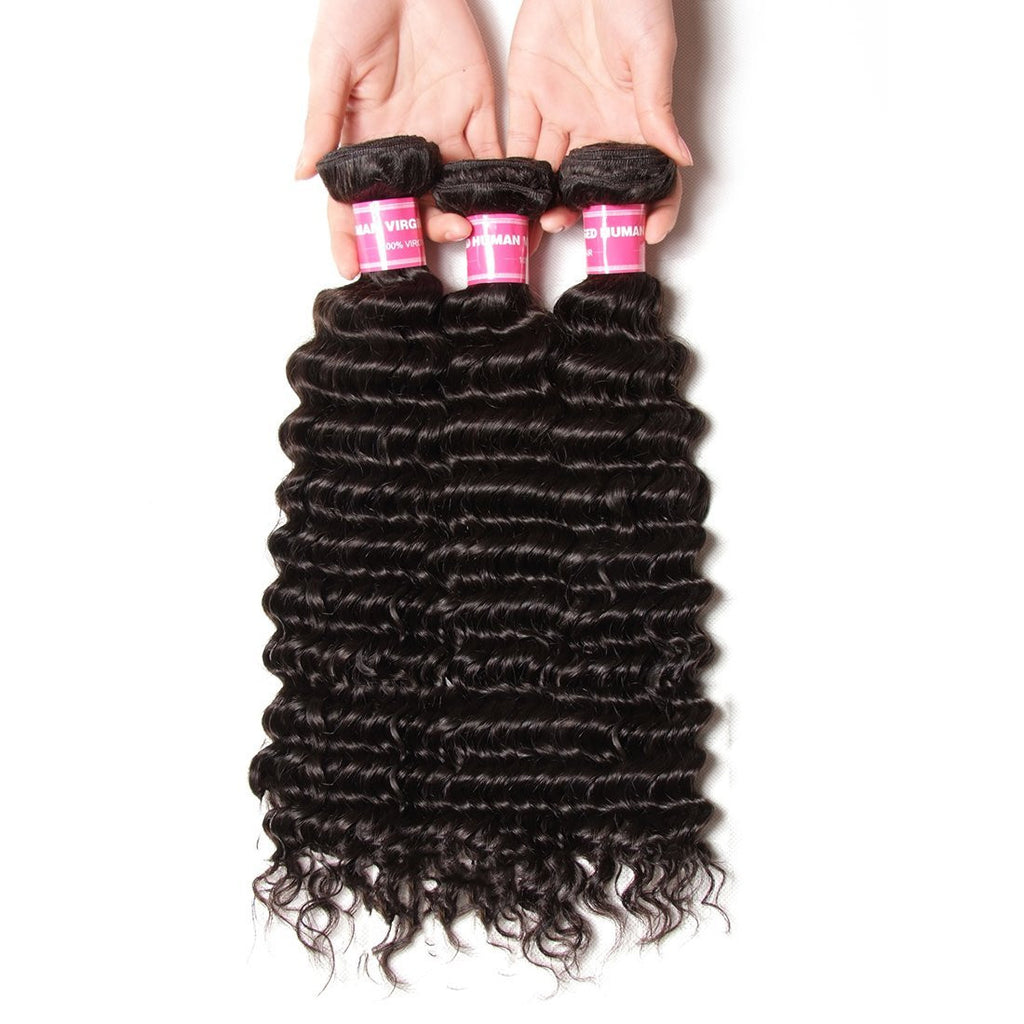 YIROO Brazilian Deep Wave Hair 3 Bundles,7a Grade Virgin Human Hair Weave