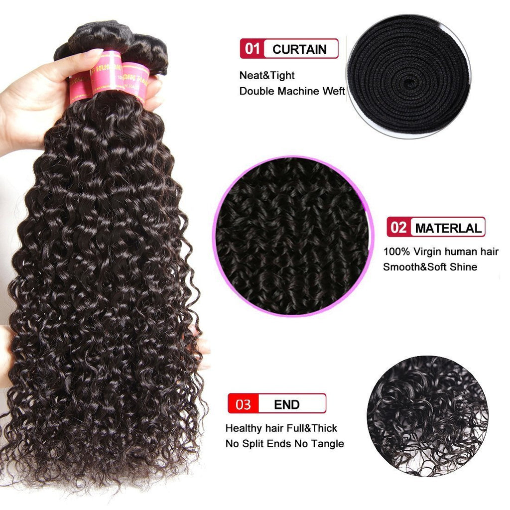 YIROO 7a Malaysian Curly Human Hair Weave 3 Pcs/Pack Virgin Hair Bundles Best Curly Hair Products