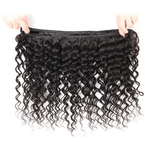 YIROO 7A Deep Wave 1 Bundle Virgin Human Hair,100% Unprocessed Malaysian/Brazilian Hair Extensions