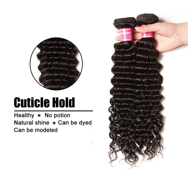 YIROO 7a Brazilian Deep Wave Hair 3 Bundles With 4X4 Lace Closure Free Part Natural Black Color