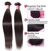 YIROO 7a Malaysian Straight Virgin Hair 3 Bundles,100% Unprocessed Human Hair