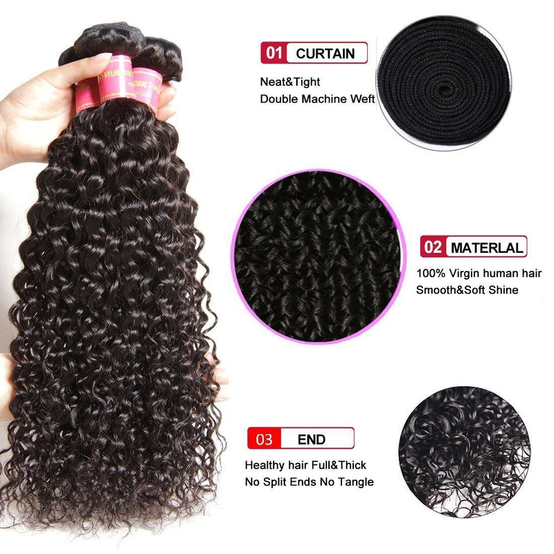 YIROO 7a Malaysian Virgin Curly Hair 4 Bundles ,100% Unprocessed Human Hair Curly Weave Deals