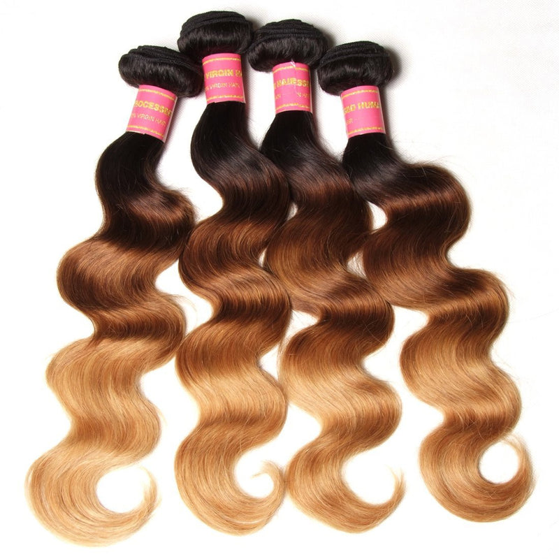 YIROO Ombre Hair Brazilian Body Wave 3 Bundles 100% Human Hair Weave Extensions