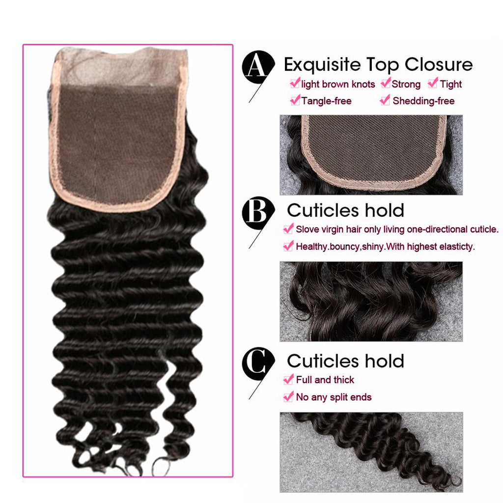 YIROO Deep Wave 1PCS 4x4 Lace Closure Free Part Malaysian/ Brazilian Virgin Human Hair