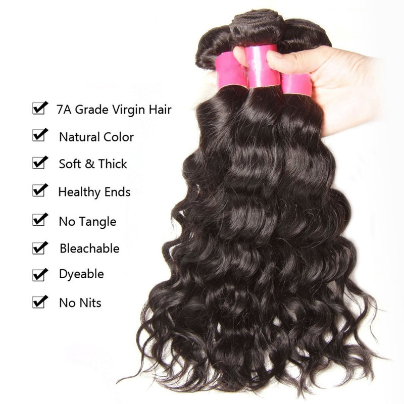 YIROO 7A Malaysian Natural Wave 4 Bundles with 1 Free Part Closure,100% Human Hair Weave