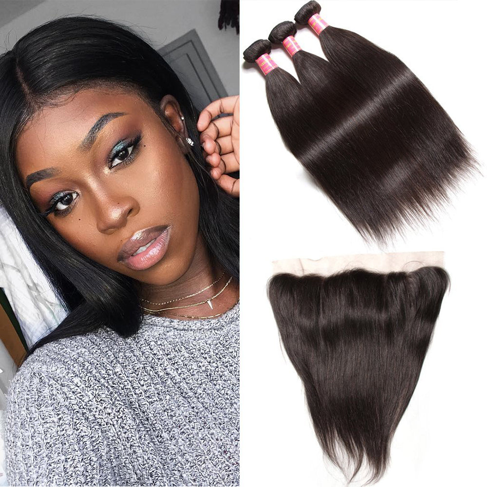YIROO Brazilian Virgin Straight Hair 3 Bundles with 4*4 Closure/ 13*4 Frontal / 360 Frontal 7a Grade Human Hair