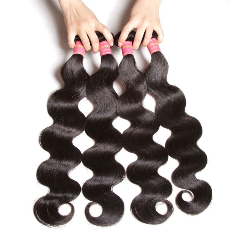 YIROO Brazilian Virgin Hair Body Wave 4 Bundles ,Unprocessed 7A Human Hair Extensions