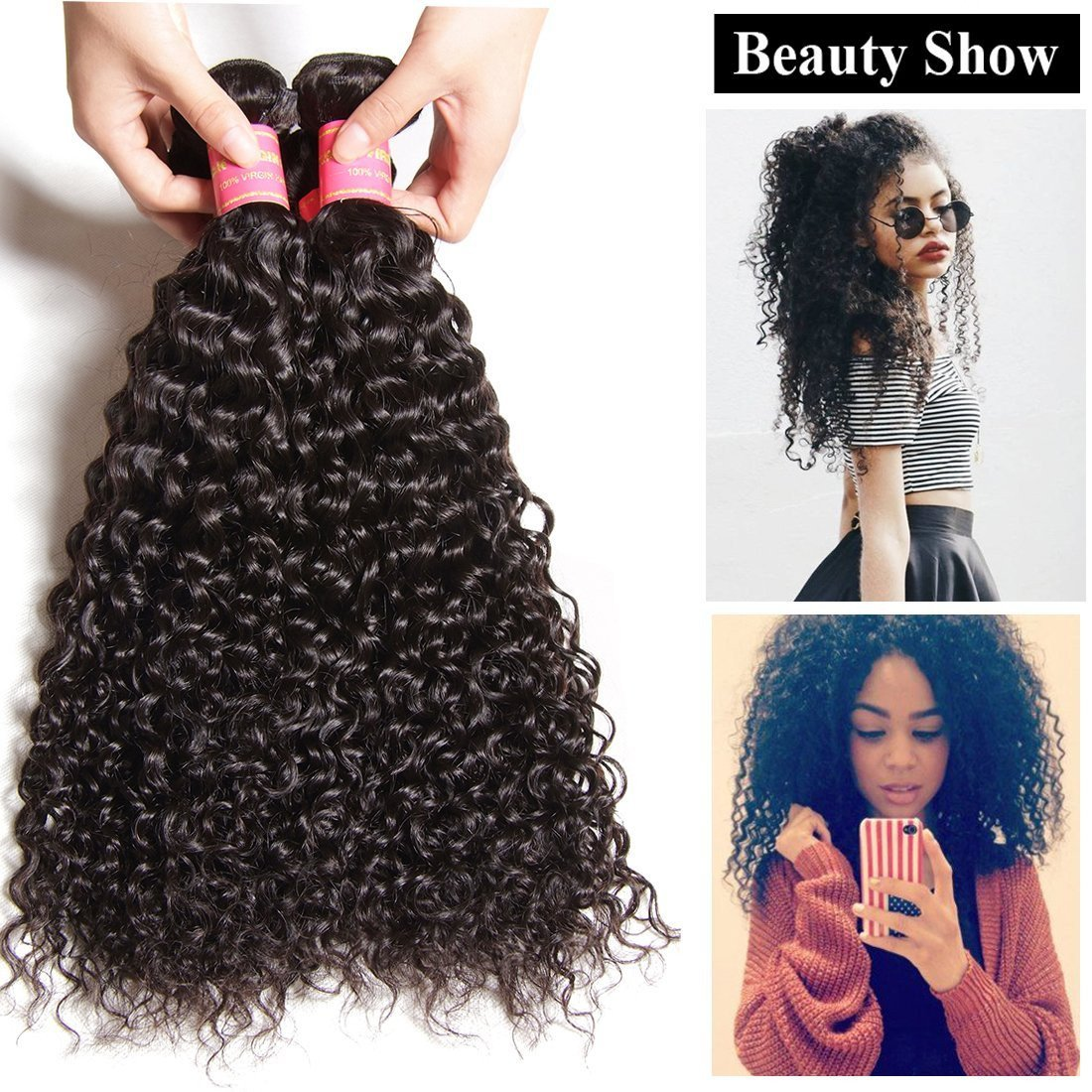 Yiroo 7a Peruvian Curly Human Hair Weave 3 Pcspack Virgin Hair Bundle