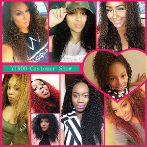 YIROO 7a Virgin Peruvian Curly Hair Weave 3 Bundles with 13*4 Lace Frontal Free Part