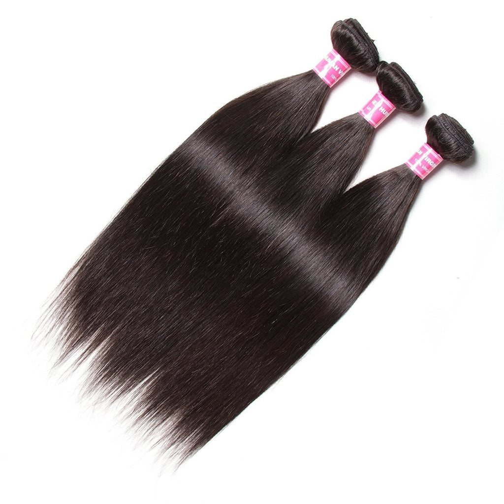 YIROO 7a Malaysian Straight Hair 3 Bundles, 100% Virgin Human Hair Weave Natural Color