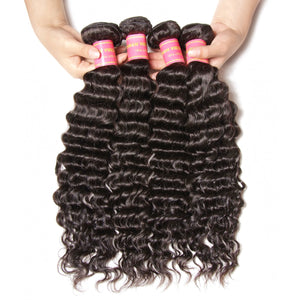 YIROO 7a Peruvian Deep Wave  Hair 4 Bundles,100% Virgin Human Hair Weave,Thick Bomb Hairs