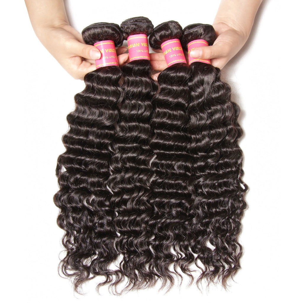 YIROO 7a Malaysian Deep Wave  Hair 4 Bundles,100% Virgin Human Hair Weave,Thick Bomb Hairs