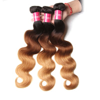 Yiroo Ombre T1B/4/27 Brazilian Body Wave 3 Bundles with Closure Free Part 4x4 Lace Closure Remy Human Hair