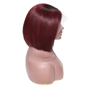Lace Front Wig Ombre Color Straight Hair Bob Wig on Sales, 13*4 Lace Frontal, 130% Density Straight Bob T1B/99J Color