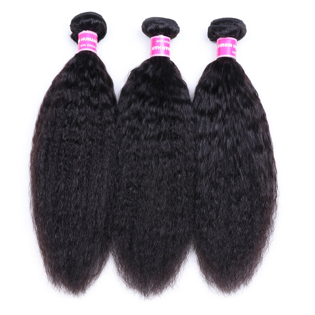 YIROO 7A Brazilian Hair Kinky Straight Human Hair 3 Bundles 100% Virgin Hair Extensions Best Straight Hair Bundles