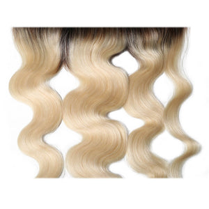 Ombre Color T1B/613 13*4 Lace Frontal Body Wave Lace Closure Virgin Human Hair Yiroo Hair
