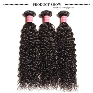 YIROO 7a Malaysian Virgin Curly Hair Weave 3 Bundles with 13*4 Lace Frontal Free Part
