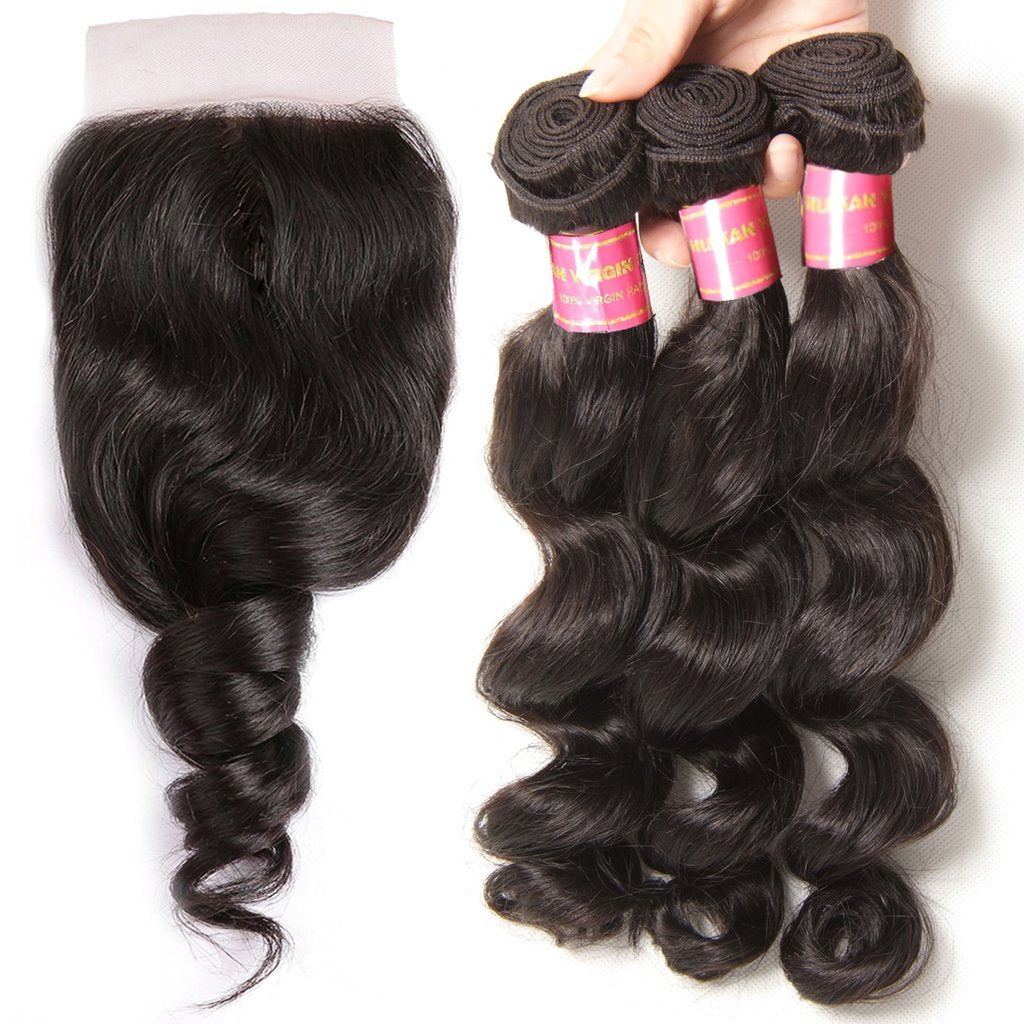 YIROO Peruvian Loose Wave 3 Bundles with Free Part Lace Closure,7A Unprocessed Human Virgin Hair