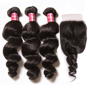 YIROO Brazilian Loose Wave 3 Bundles with Lace Closure Free Part 7A Unprocessed Virgin Human Hair