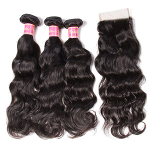 YIROO Brazilian Natural Wave 3 Bundles with 1pc 4x4 Lace Closure Free Part,100% Human Virgin Hair