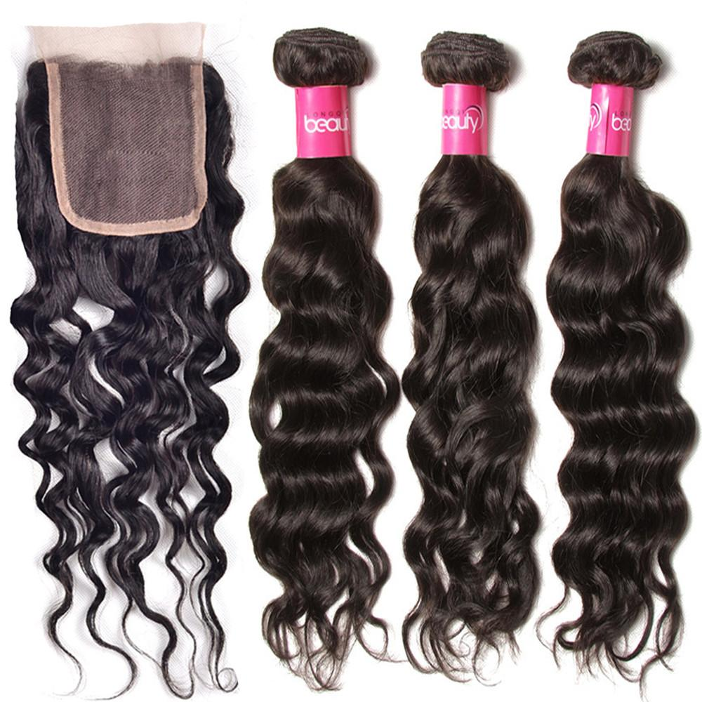 YIROO Malaysian Natural Wave 3 Bundles with 4x4 Lace Closure,100% Virgin Human Hair