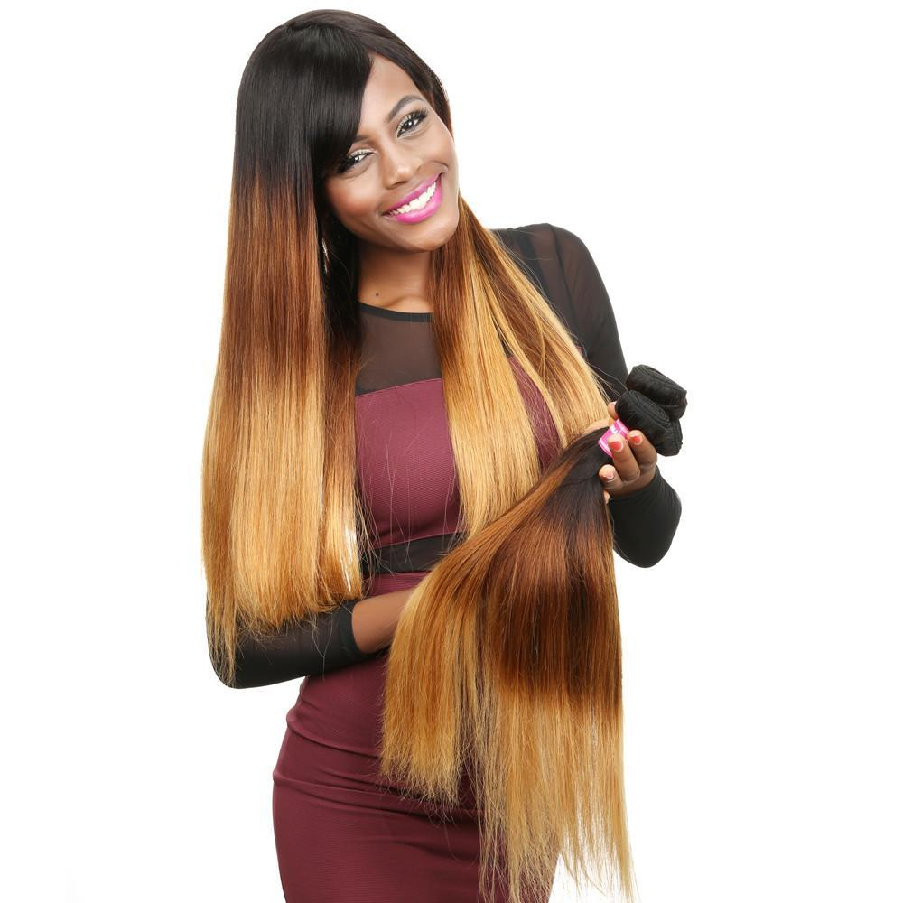 Ombre Brazilian Straight Hair Ombre Color T1B/4/27 Virgin Human Hair Bundles 16-26 Inch Yiroo Hair