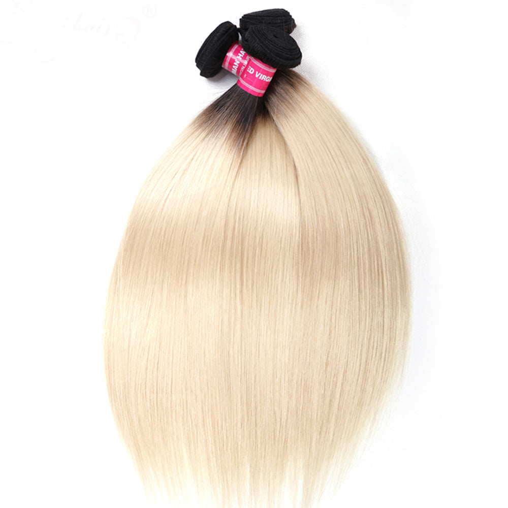 YIROO HAIR Ombre Blonde Hair Extensions 3 Bundles T1B/613 Straight Brazilian Hair 100% Remy Hair Weaves 10-20 Inch