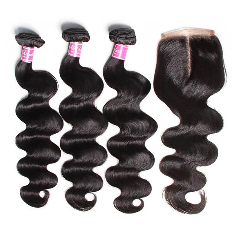 YIROO 7A Brazilian Body Wave 3 Bundles with 4x4 Lace Closure 100% Virgin Human Hair Bundles With Closure