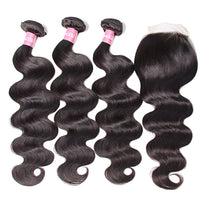 YIROO 7A Malaysian Body Wave 3 Bundles with Lace Closure, 100% Unprocessed Human Virgin Hair