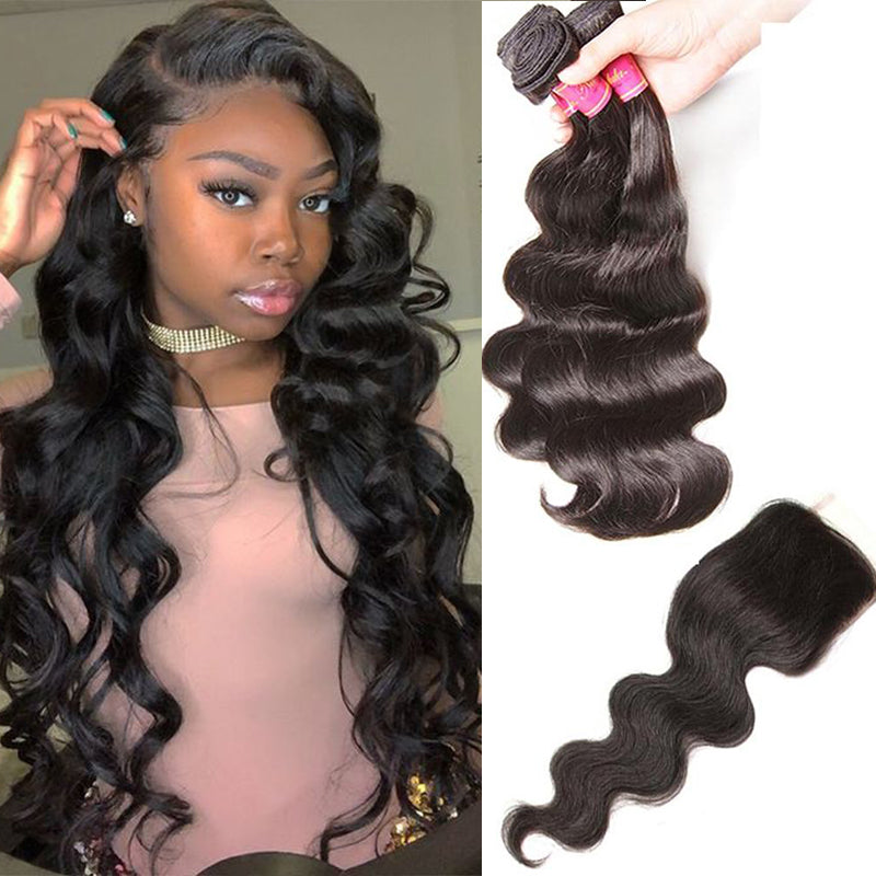 YIROO 7A Peruvian Body Wave 3 Bundles with 1pc 4x4 Lace Closure Virgin Human Hair Natural Black Free Shipping