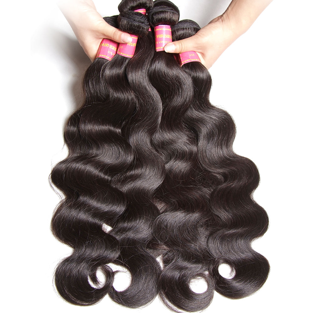YIROO Brazilian Body Wave 3 Bundles 7a  Virgin  Human Hair Bundles With 13*4 Lace Frontal Closure