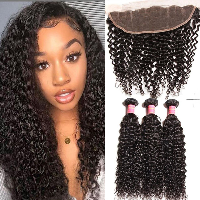 YIROO 7a Virgin Brazilian Curly Hair Weave 3 Bundles with 13*4 Lace Frontal Free Part